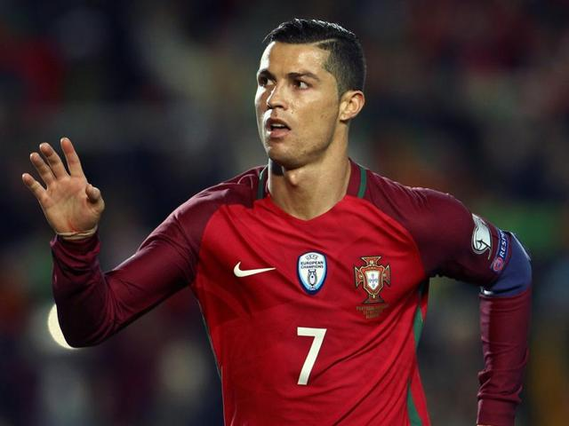Portugal's Cristiano Ronaldo reacts during his team's match against Latvia.