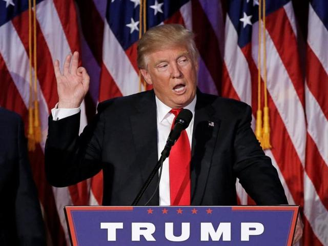 US President-elect Donald Trump speaks at election night rally in Manhattan, New York.