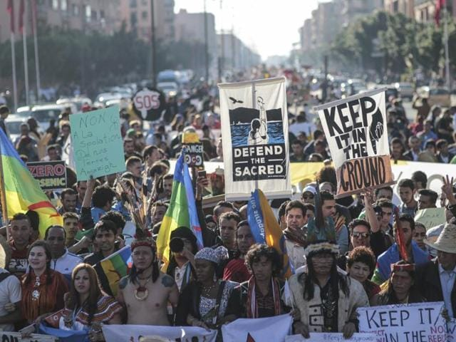 Hundreds protest against climate change and urge world leaders to take action, in a march coinciding with the Climate Conference, known as COP22, taking place in Marrakech, Morocco.