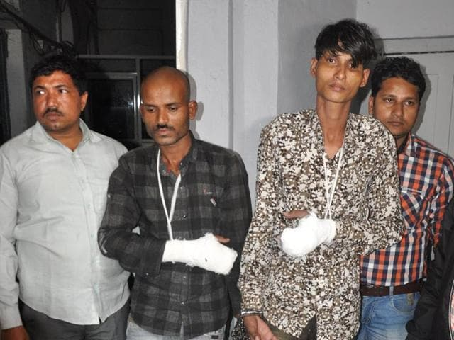 Two murder accused in police custody in Indore on Sunday.