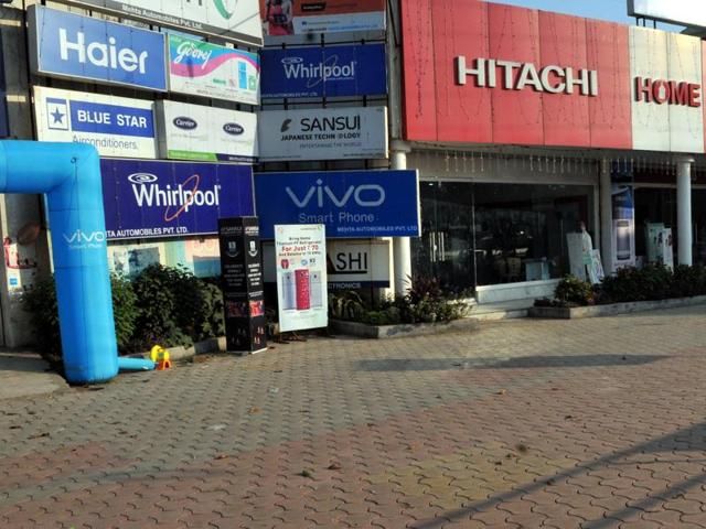 An empty consumer goods showroom at AB Road on Sunday.