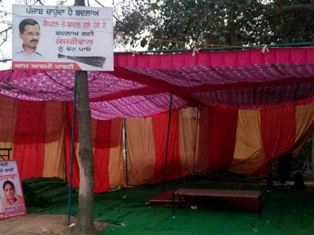 AAP protest site empty near Kapuri village in Patiala on Monday.