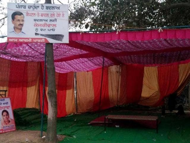 AAP protest site empty near Kapuri village in Patiala on Monday.