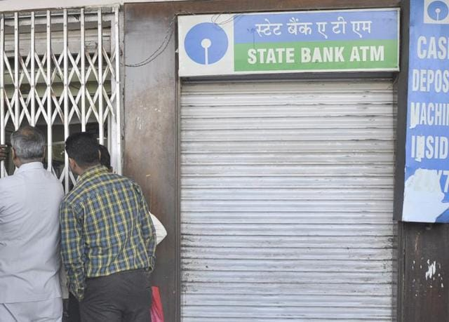 The HT team found the ATMs of Yes Bank, SBI and HDFC closed in Sector 6 and Sector 8 on Monday afternoon.