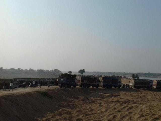 Prajapati alleged that makeshift bridges have been built, and presently 2,000-2,500 trucks from Uttar Pradesh are stationed in both areas to take the sand to UP.