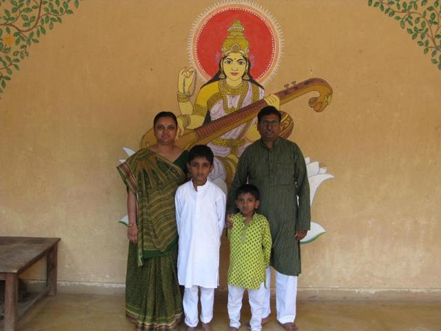 Vishwakarmas with their sons Kuber and Shiva at the Hemchandra Sanskrit Pathshala.