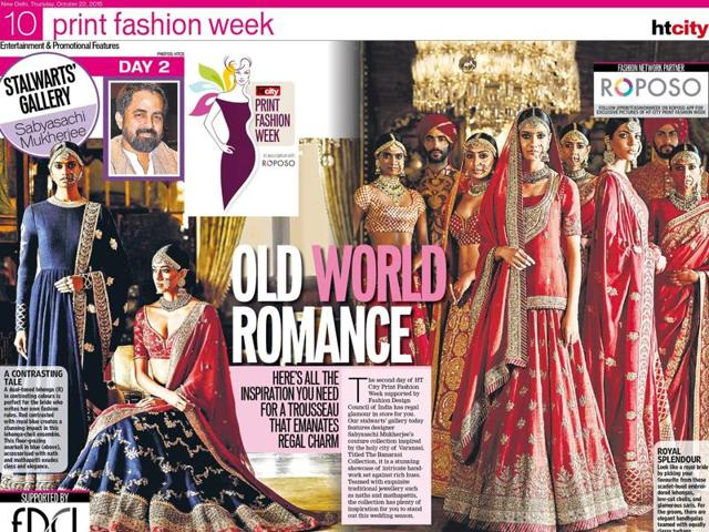 Models in Sabyasachi outfits for the first edition of  HT City  Print Fashion Week.