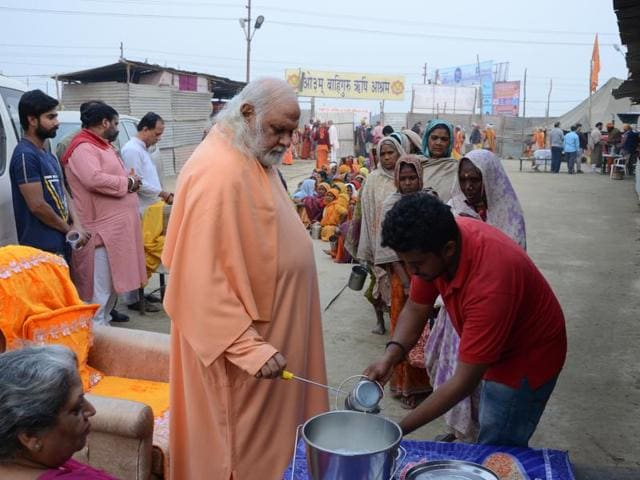 File picture of Aum Wahe Guru Rishi Ashram camp on the banks of Sangam in Allahabad