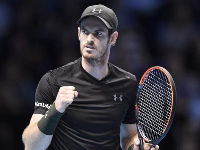 Great Britain's Andy Murray celebrates after winning his round robin match against Croatia's Marin Cilic.