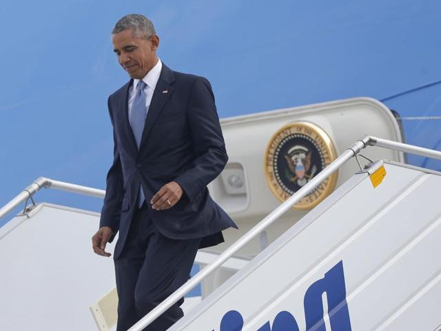 US President Barack Obama arrives aboard Air Force One at the Eleftherios Venizelos International airport in Athens on Tuesday.