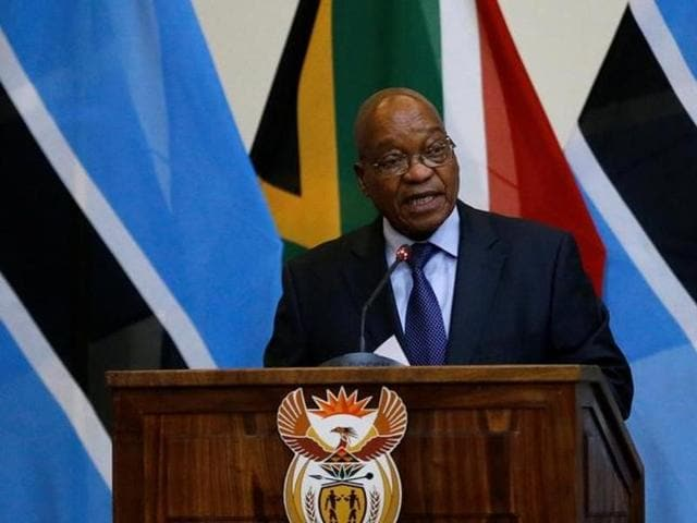 Jacob Zuma, president of South Africa speaks during the Botswana-South Africa Bi-National Commission (BNC) in Pretoria, South Africa.