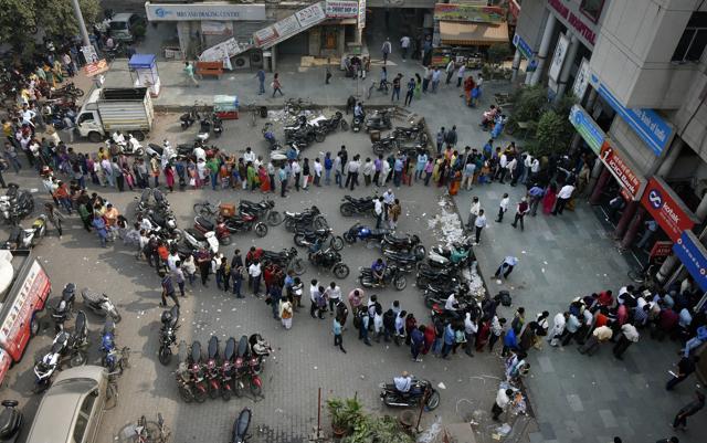 Long queue outside a bank at Chandni Chowk.