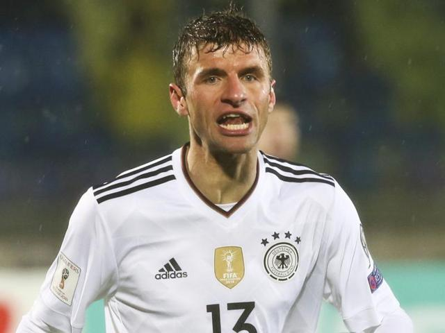 Germany's Thomas Mueller in action against San Marino.