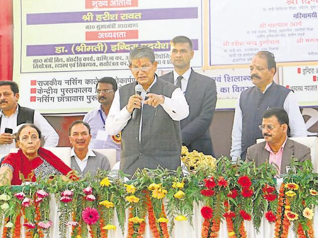 Chief Minister Harish Rawat addressing  a gathering at the foundation stone laying ceremony for a nursing college at the  Sushila Tiwari  College and Hospital  in Haldwani on Tuesday.