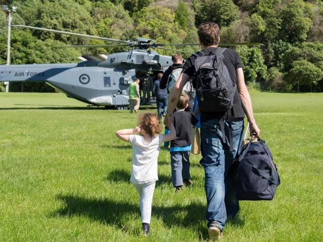 A Royal New Zealand Air Force NH90 helicopter arrives in Kaikoura on the South Island  to evacuate those stranded following the recent earthquakes.