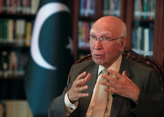 Sartaj Aziz speaks during an interview with Reuters in Islamabad.