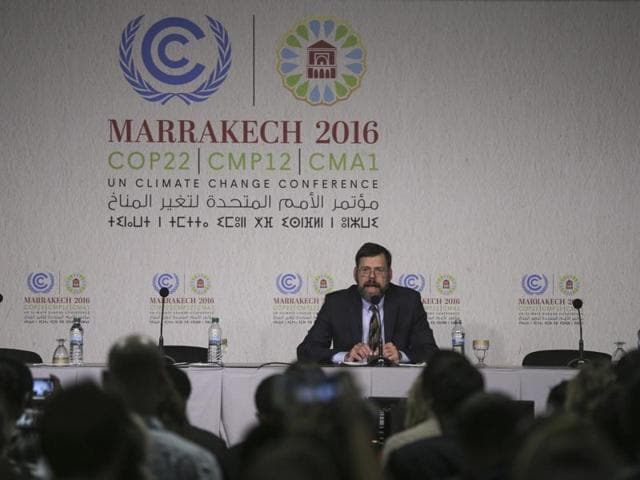 Jonathan Pershing, U.S. climate change envoy, speaks at the UN World Climate Change Conference 2016 (COP22) in Marrakech.