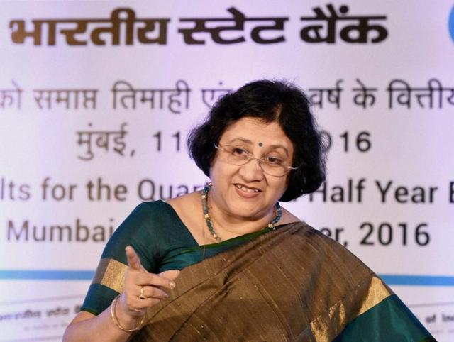 SBI chairperson Arundhati Bhattacharya speaks during a press conference in Mumbai.
