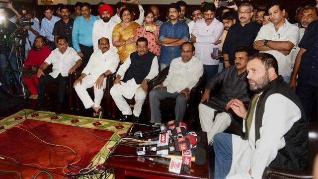 Congress vice-president Rahul Gandhi addresses a press conference in Mumbai on Tuesday.