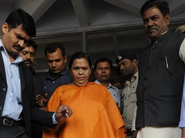 Uma Bharti coming out of Bhopal district court.