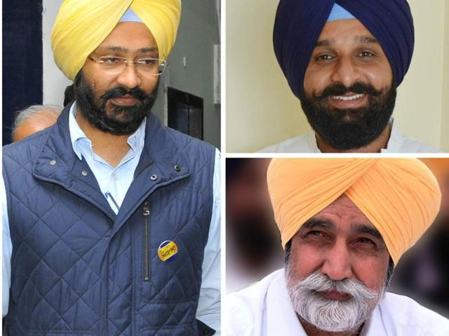 Clockwise from left: Finance minister Parminder Singh Dhindsa has been shifted to Lehra segment, while his cabinet colleagues Bikram Singh Majithia and Sikander Singh Maluka will re-contest from their segments.