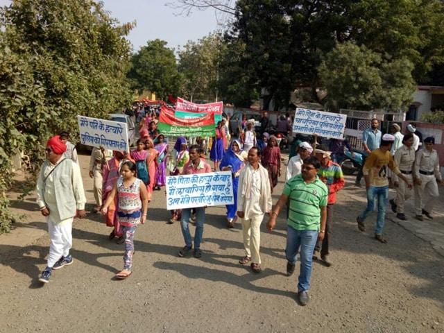 Members of Adivasi Mukti Sangthan demonstrate near Sendhwa sub-divisional magistrate's office.