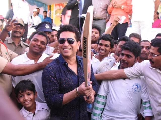 Sachin Tendulkar takes a selfie with villagers of PRKandriga in Andhra Pradesh. Tendulkar had dispersed money from his MP funds for local area development two years ago.