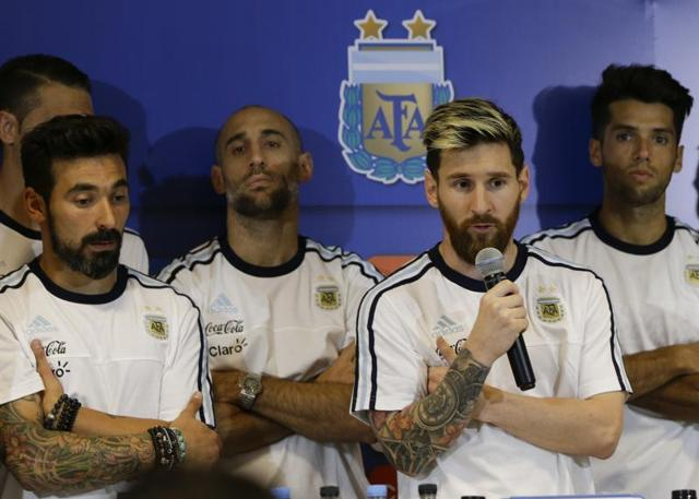 Standing in front of the entire Argentina squad at a post-match news conference following his team's 3-0 win over Colombia, Lionel Messi said the players would no longer speak to press following the controversy.