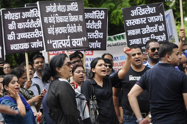 Homebuyers shouted slogans against Uttar Pradesh  and central government, builders and Noida Authority during a protest in July.
