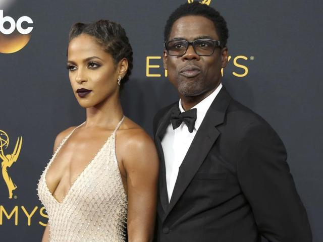 Actors Chris Rock and Megalyn Echikunwoke at the 68th Primetime Emmy Awards in California.(Lucy Nicholson/REUTERS)