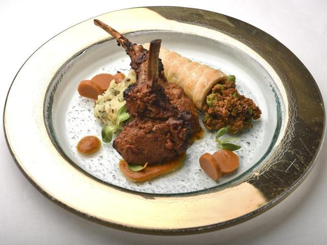 Chaap Kheema: Ginger lamb chops, walnut potato toss, kheema mattar horn, rogan josh coins at Ziya, The Oberoi, Nariman Point