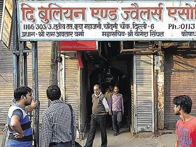 Jewellery shops were shutdown at Chandini Chowk after the Income Tax department conducted multiple raids based on reports of alleged profiteering and tax evasion by traders, in New Delhi on November 11, 2016.