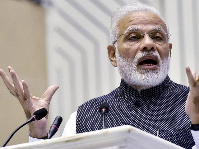 Prime Minister Narendra Modi speaks during the Golden Jubilee celebrations of the Press Council of India on the National Press Day, in New Delhi on Wednesday.