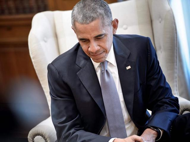 US President Barack Obama waits for a meeting with US President at the Maximos Mansion on November 15 in Athens.