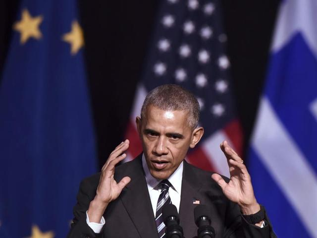 US President Barack Obama gestures as he speaks at the Niarchos foundation in Athens on Wednesday.