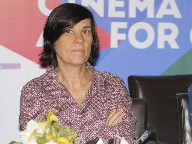 French filmmaker Catherine Corsini at a press conference of the 22nd Kolkata International Film Festival at Nandan.