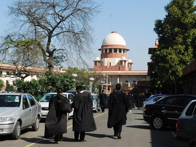 Lawyers outside the Supreme Court.