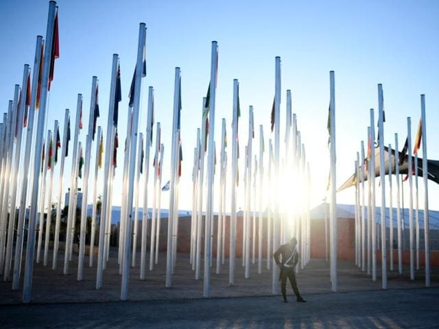 A Moroccan soldier stands guard outside the COP22 climate change conference in Marrakesh on November 14.