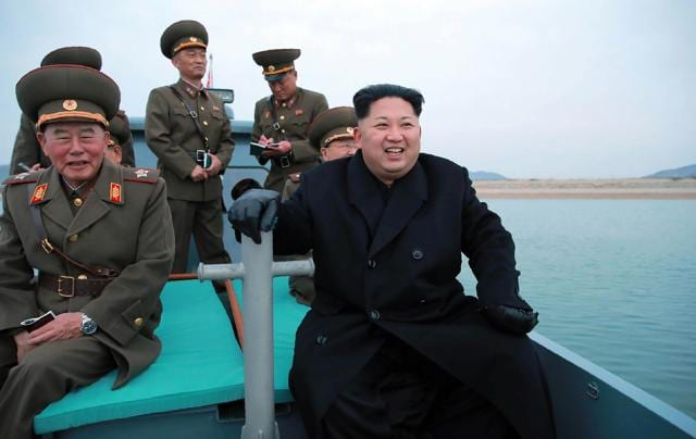 North Korean leader Kim Jong-Un (centre) at the defence detachment on Mahap Islet in Ongjin County, South Hwanghae.