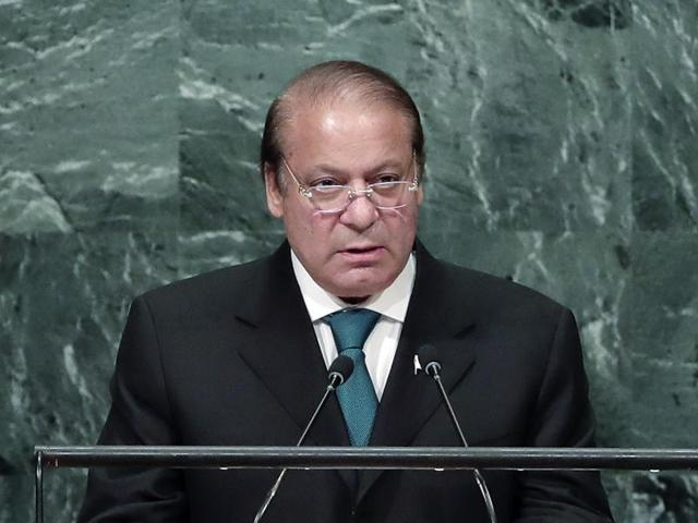 In this Sept. 21, 2016 file photo, Pakistani Prime Minister Nawaz Sharif speaks during the 71st session of the United Nations General Assembly at UN headquarters.
