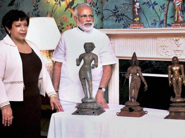 From a bronze Ganesh statute to a Jain figure of Bahubali, the US returned more than 200 pieces of artifacts to India during PM Narendra Modi's visit to the US in June.(PTI file photo)