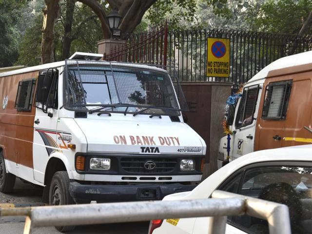 The van was on its way to collect cash for payment of labourers.