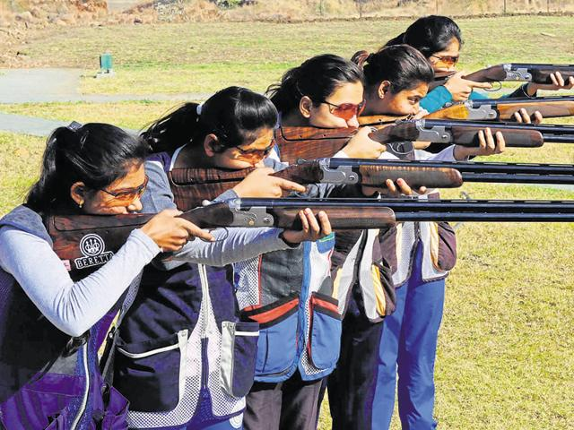 Shooters at MP state shooting academy in Bhopal on Friday.
