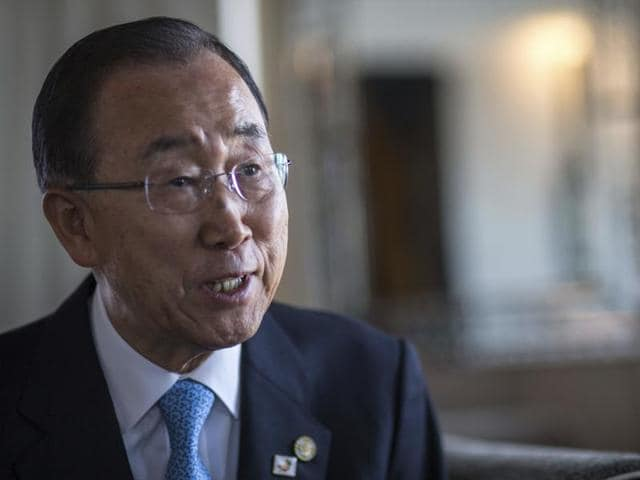 United Nations Secretary-General Ban Ki-moon speaks to the Associated Press during an interview, in Marrakech, Morocco, on Wednesday,