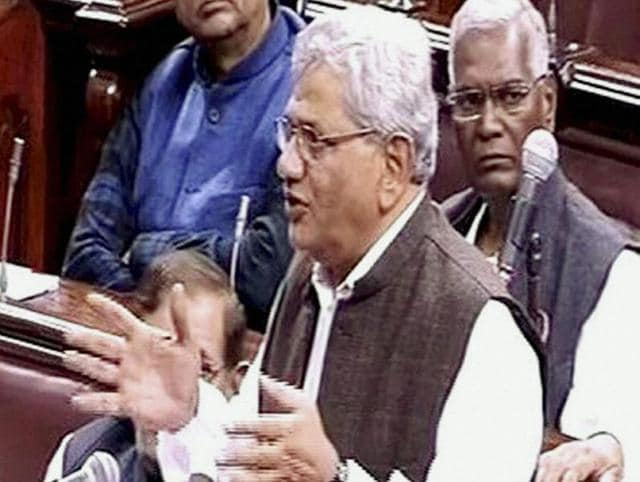 CPI(M) leader Sitaram Yechury speaks in the Rajya Sabha on the opening of the winter session of Parliament in New Delhi on Wednesday.
