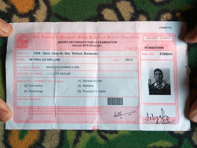 Danish's admit card which arrived at his home in Nadihal village has revived his memories, reviving the family's grief.