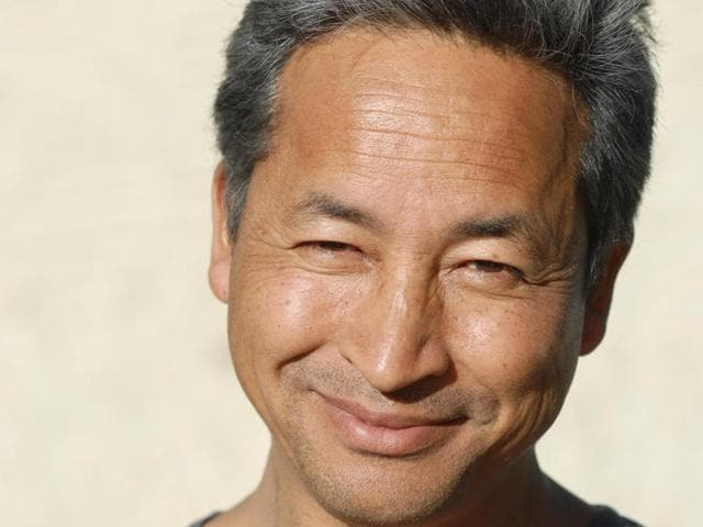 """Sonam Wangchuk has been attempting to solve the problem of lack of water for agriculture in the desert landscapes of the western Himalayas by building """"Ice Stupas""""."""