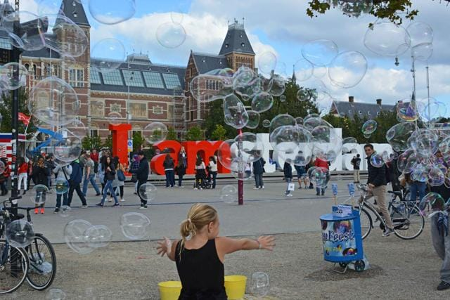 "The ""I amsterdam"" sign near Rijksmuseum attracts selfie-lovers and revellers every day"
