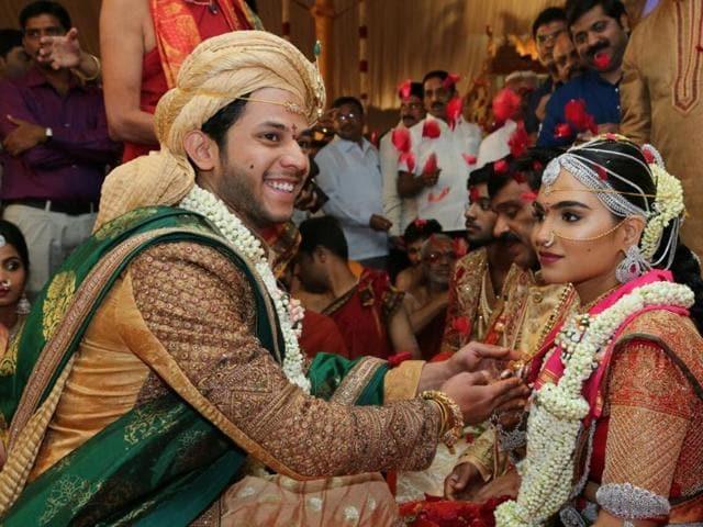 Bramhani, daughter of mining baron G Janardhan Reddy, and Rajeev Reddy, son of an Andhra Pradesh-based businessman, at their wedding in Bengaluru on Wednesday.