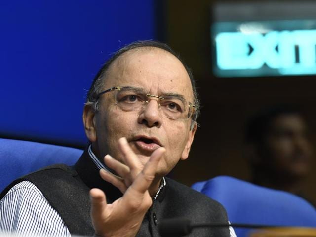 Finance Minister Arun Jaitley during a press conference at National Media Centre in New Delhi.